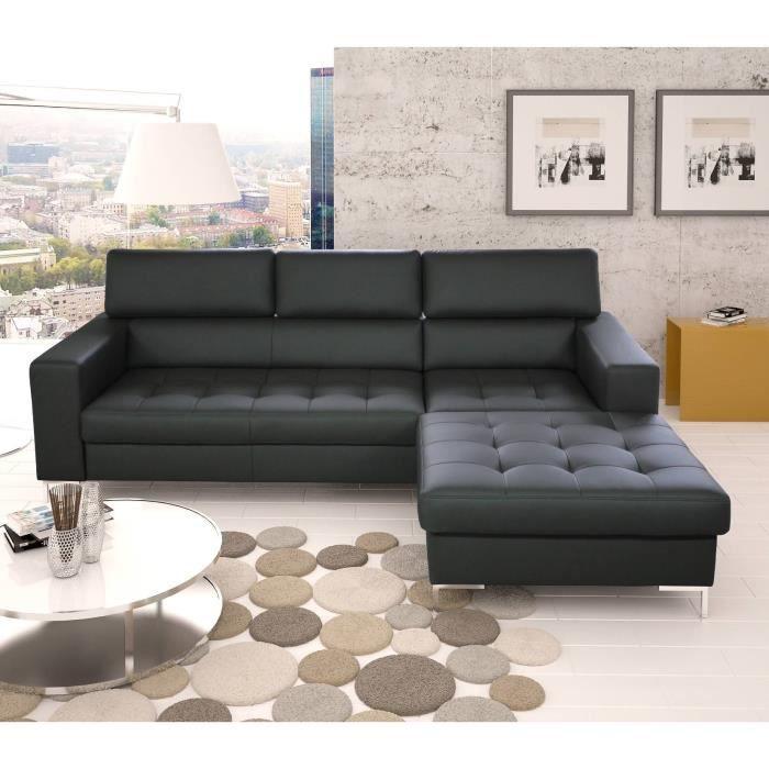 rico canap angle droit 5 places polyester noir achat vente canap sofa divan structure. Black Bedroom Furniture Sets. Home Design Ideas