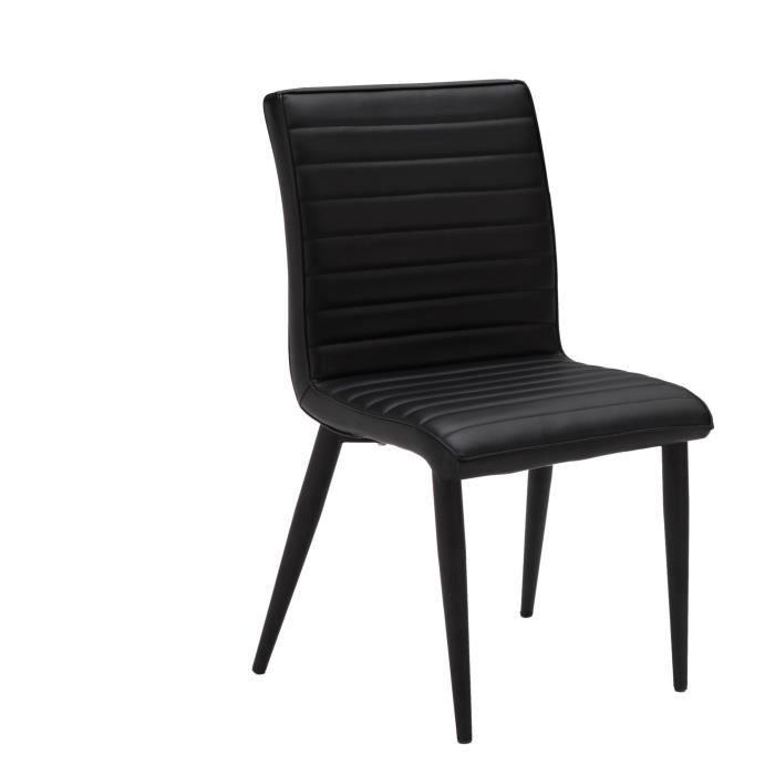 Chloe lot de 2 chaises de salle manger noires achat - Lot de chaises noires ...