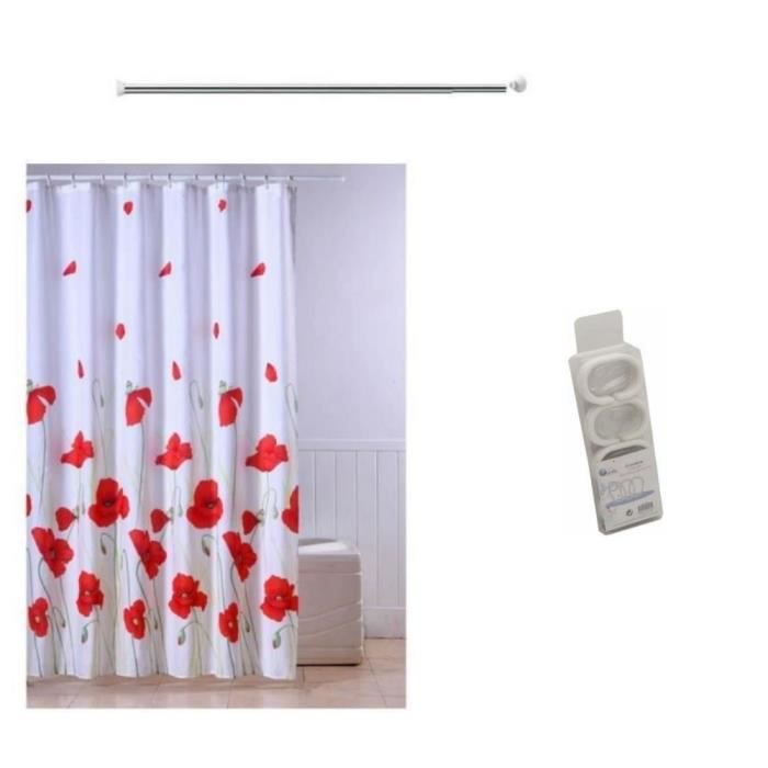 Frandis rideau de douche 2 accessoires achat vente for Systeme rideau de douche