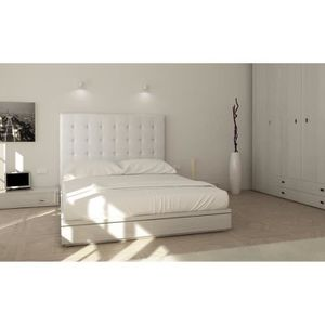 lit capitonne blanc achat vente lit capitonne blanc pas cher les soldes sur cdiscount. Black Bedroom Furniture Sets. Home Design Ideas