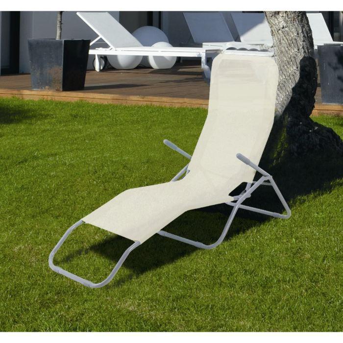 Bain de soleil en acier et textil ne ecru achat vente for Transat pliant jardin