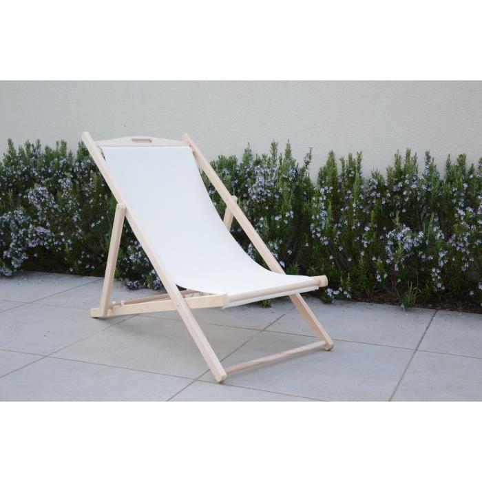 Chilienne luxe en bois h tre massif toile uni ecru for Chaise longue en bois et toile