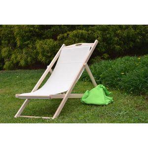 Chaise longue transat bois massif achat vente chaise for Chaise longue chilienne bois