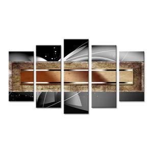 TABLEAU - TOILE ABSTRAIT Tableau multi panneaux 150x80 cm gris