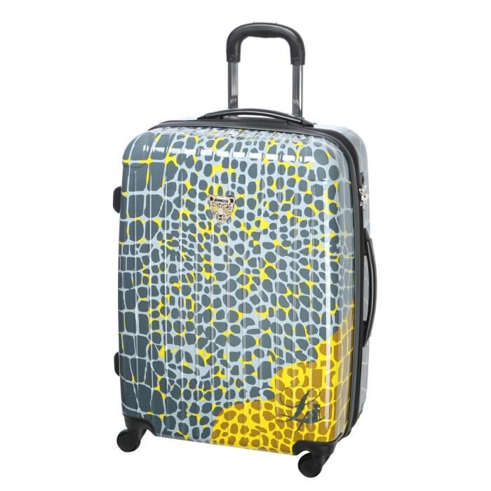 lollipops valise trolley 4 roues 60 cm gris fonc et jaune achat vente valise bagage. Black Bedroom Furniture Sets. Home Design Ideas