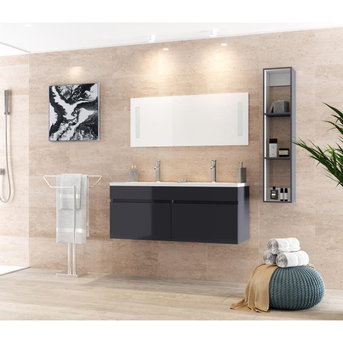 Alban salle de bain compl te double vasque 120 cm laqu for Acheter salle de bain complete