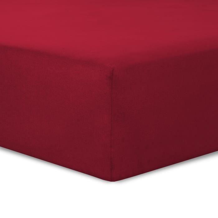 vision drap housse rouge 140x190cm achat vente drap housse cdiscount. Black Bedroom Furniture Sets. Home Design Ideas