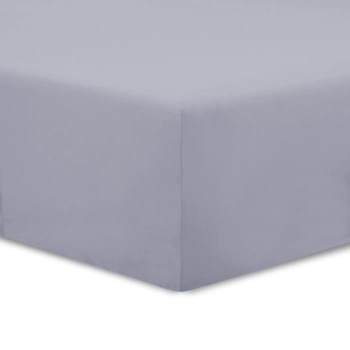 Vision drap housse 180x200cm gris achat vente drap for Drap housse 180