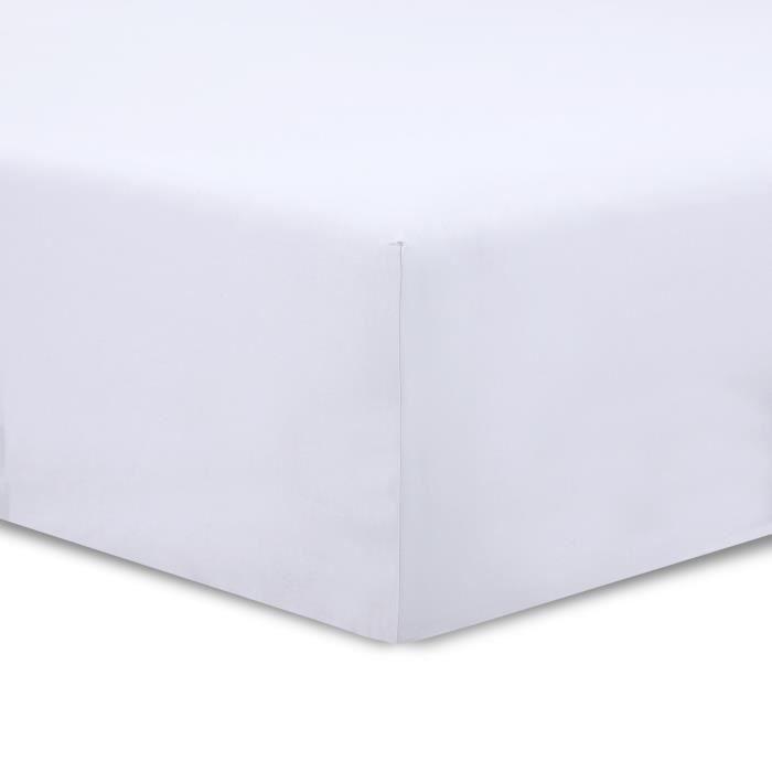 vision drap housse 180x200cm blanc achat vente drap housse les soldes sur cdiscount. Black Bedroom Furniture Sets. Home Design Ideas
