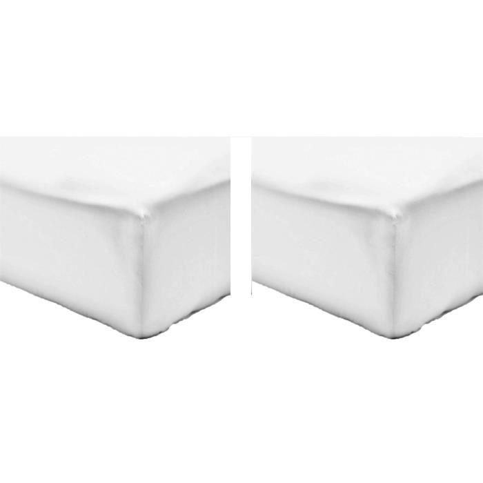 Vision pack de 2 draps housse 100 coton 180x200 cm blanc for Draps housse 180x200