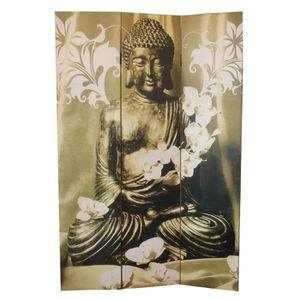 PARAVENT Paravent Bouddha 180 x 120 cm en sapin gris et jau