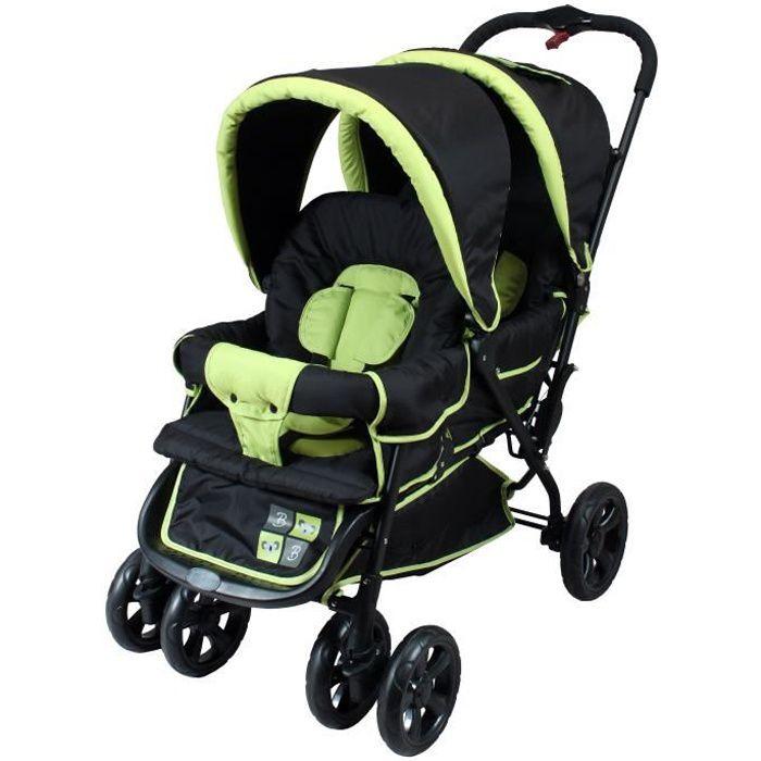 babyway poussette double tango ii noire vert anis achat. Black Bedroom Furniture Sets. Home Design Ideas