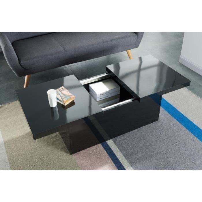 Wonderland table basse extensible 110 142x60 cm noir brillant achat vente - Table basse avec rangement pas cher ...