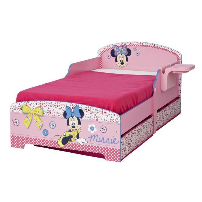 Minnie mouse lit enfant avec rangements et tablette 70 x 140 cm achat ven - Lit pour petite fille pas cher ...