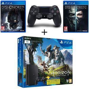 CONSOLE PS4 NOUVEAUTÉ Nouvelle PS4 Slim 1 To +2e Manette +3 Jeux : Horiz