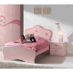 STRUCTURE DE LIT LIZZY Lit enfant 90x200 cm - Laqué rose