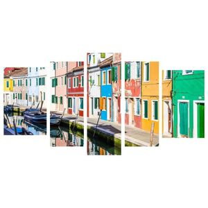 TABLEAU - TOILE Tableau Multi Panneaux Maisons Colors sur toile 11