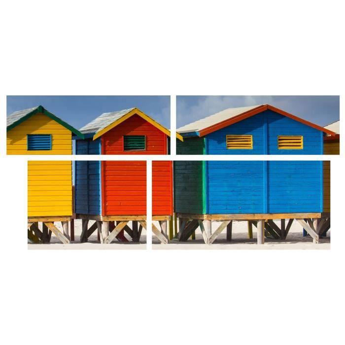 Tableau multi panneaux cabane de plage sur toile 140x70 cm for Toile de plage ikea