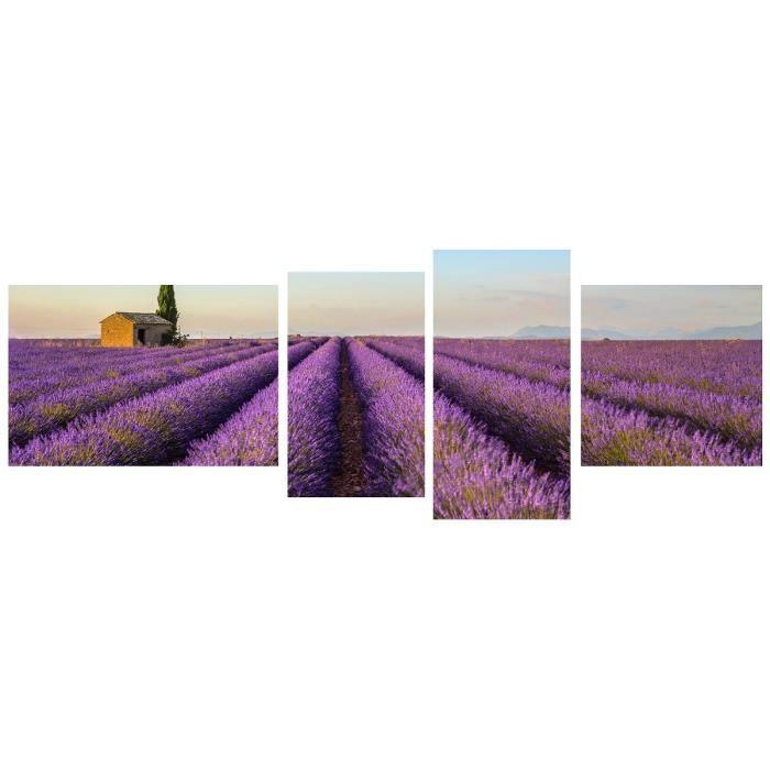 tableau multi panneaux champ lavande sur toile 160x60 cm violet achat vente tableau toile. Black Bedroom Furniture Sets. Home Design Ideas