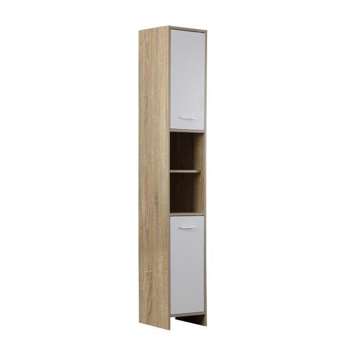 bani colonne de salle de bain 30 cm d cor ch ne et blanc. Black Bedroom Furniture Sets. Home Design Ideas
