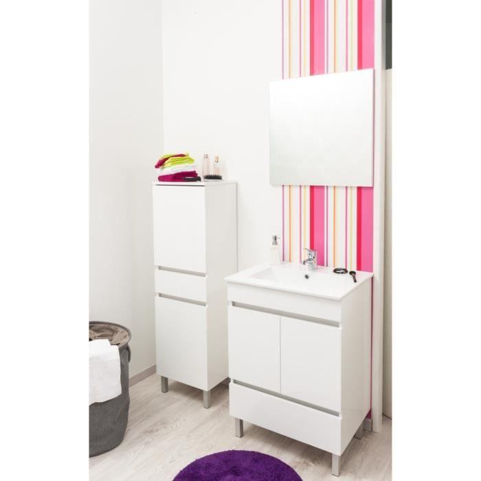 Langelo ensemble meuble salle de bain 80cm blanc achat for Ensemble meuble salle de bain 80 cm