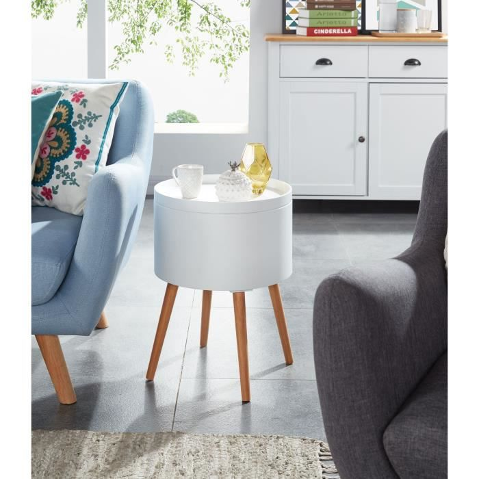 zoe table d 39 appoint ronde style scandinave laqu blanc. Black Bedroom Furniture Sets. Home Design Ideas