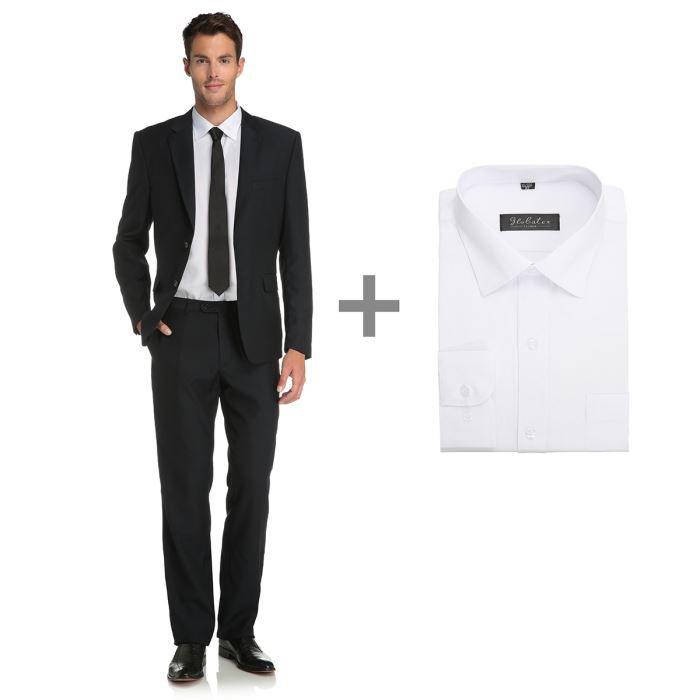 Globatex costume et chemise homme noir et blanc achat vente costume tailleur cadeaux de - Chemise costume homme ...