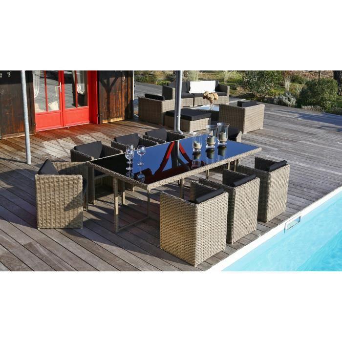 ensemble table de jardin 220 8 fauteuils. Black Bedroom Furniture Sets. Home Design Ideas