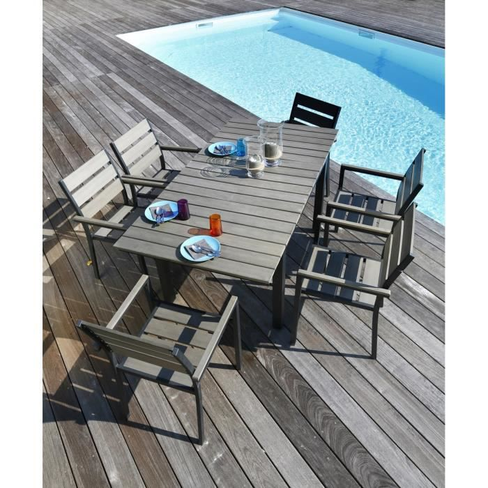 Ensemble Table Extensible De Jardin 120 180 6 Fauteuils Aluminium Achat Vente Salon De