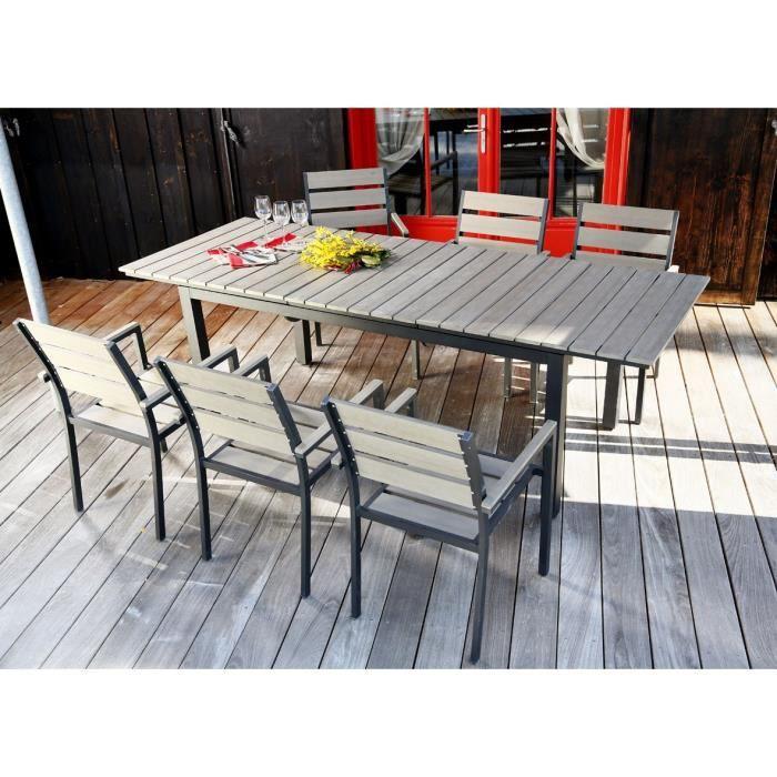 ludon ensemble de jardin en aluminium 6 places gris clair achat vente salon de jardin. Black Bedroom Furniture Sets. Home Design Ideas