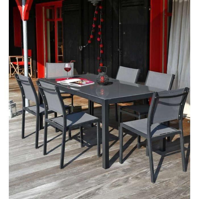 Nice Salon De Jardin 6 Places En Aluminium Gris Achat Vente Salon De Jardin Table 180 6