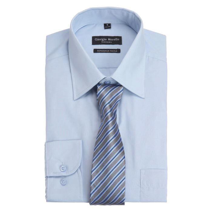 custer chemise regular et cravate homme bleu ciel achat vente chemise chemisette cdiscount. Black Bedroom Furniture Sets. Home Design Ideas