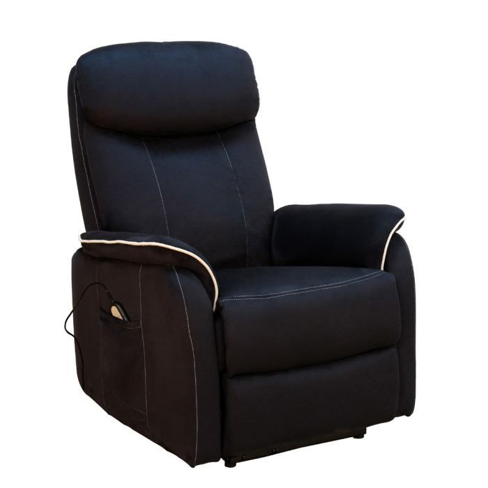 Fauteuil relax lectrique microfibre sweet noir achat vente fauteuil rev - Fauteuil relax microfibre ...