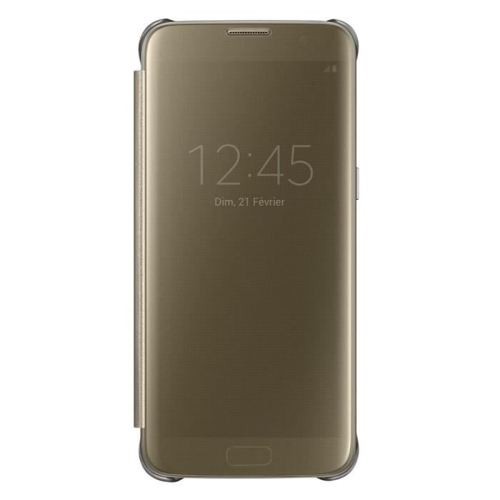 Samsung etui clear view cover pour galaxy s7 edge or for Housse galaxy s7 edge