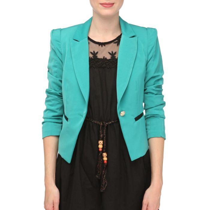 l 39 amie de paris veste blazer femme vert achat vente veste cdiscount. Black Bedroom Furniture Sets. Home Design Ideas