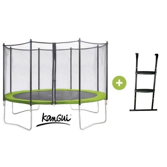kangui trampoline twin duo 360 vert avec echelle et filet de protection achat vente. Black Bedroom Furniture Sets. Home Design Ideas