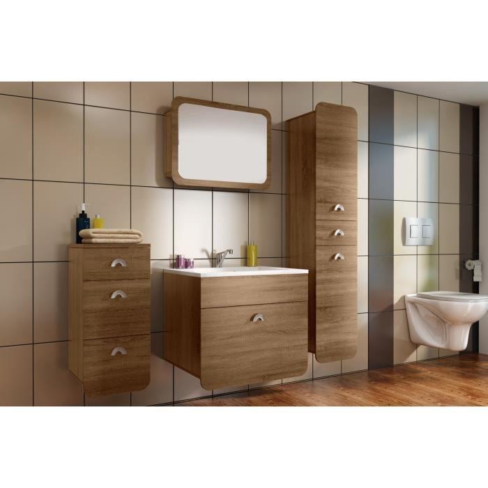 Forest ensemble salle de bain simple vasque l 60 cm d cor ch ne sonoma ac - C discount meuble salle de bain ...