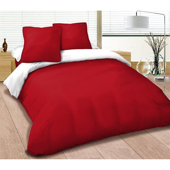 parure de lit 4 pi ces 240 x 300 cm rouge et blanc achat vente parure de drap soldes d. Black Bedroom Furniture Sets. Home Design Ideas