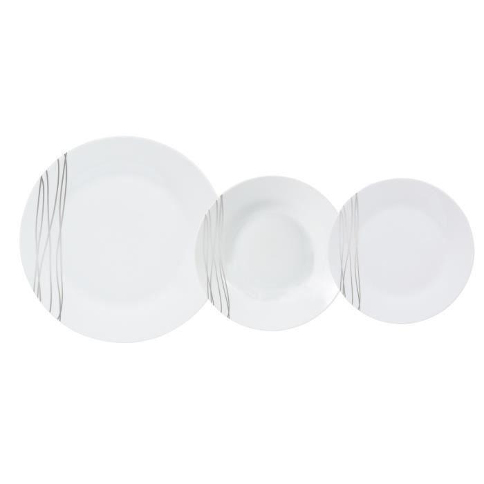 Service porcelaine 18 pi ces ethnique silver achat for Service de table carrefour