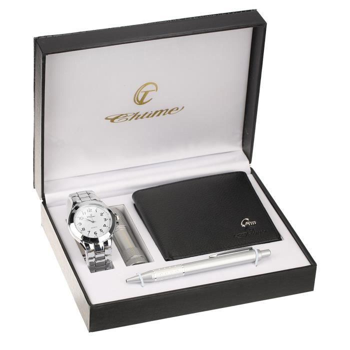 chtime coffret montre portefeuille homme argent tendance achat vente pack montre cdiscount. Black Bedroom Furniture Sets. Home Design Ideas