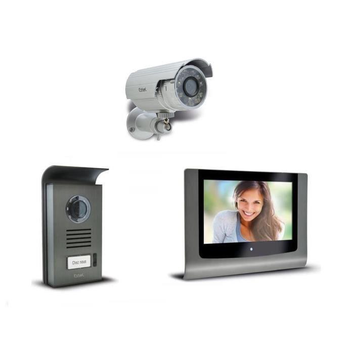 extel pack visiophone couleur 2 fils levo 7 avec sa cam ra de surveillance ext rieure achat. Black Bedroom Furniture Sets. Home Design Ideas