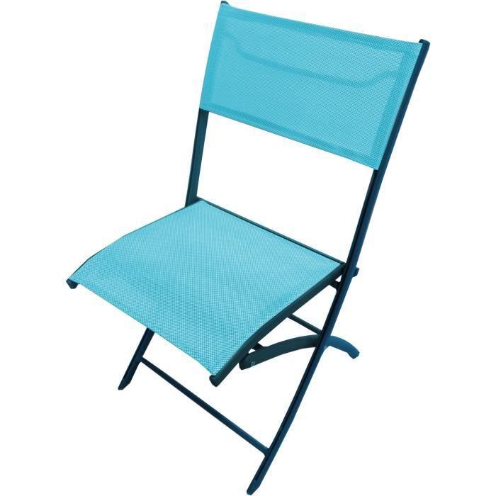 Lot de 6 chaises pliantes de jardin aluminium turquoise for Lot chaise de jardin