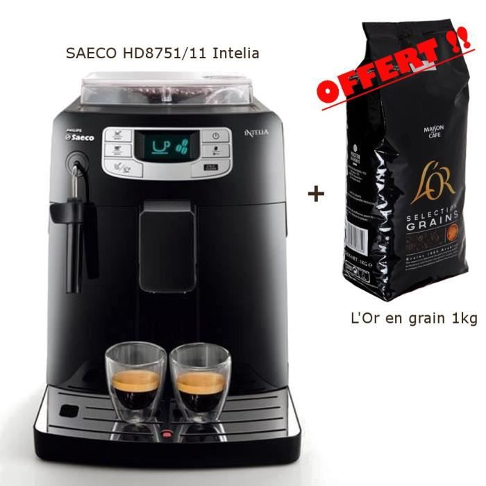 Pack saeco hd8751 11 intelia caf offert achat vente machine express - Cafetiere a grain saeco ...