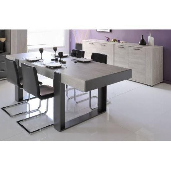 Loft salle manger compl te d cor gris 2 pi ces 1 table - Table a manger en verre design pas cher ...