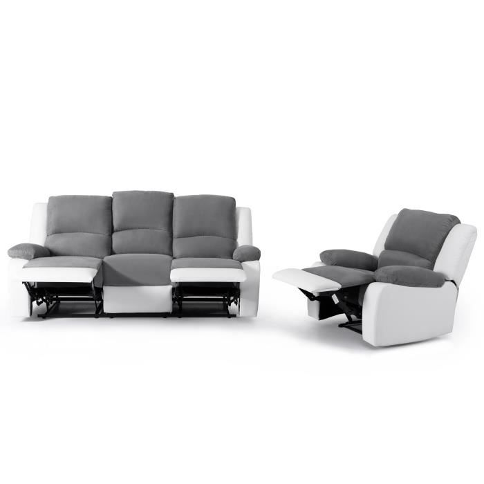 relax ensemble canap de relaxation 3 places fauteuil 190x93x96 cm 86x90x95 cm bi. Black Bedroom Furniture Sets. Home Design Ideas
