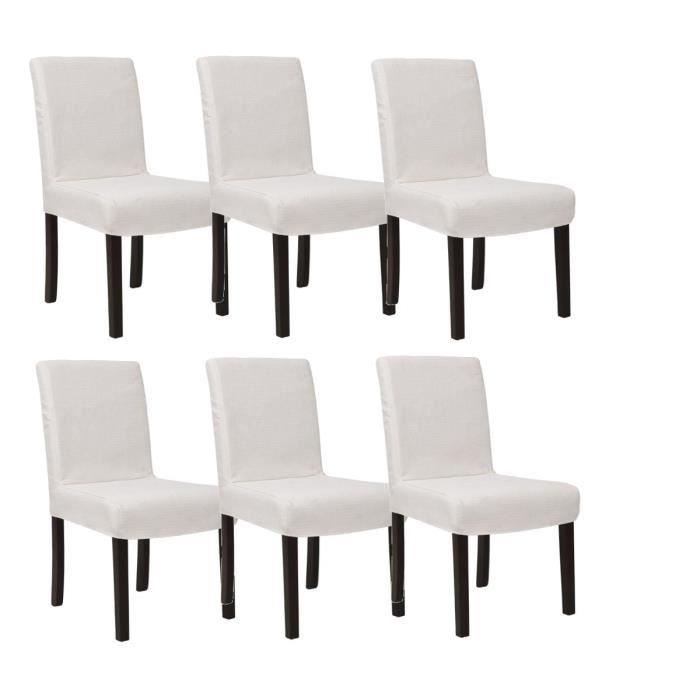 Strip lot de 6 chaises de salle manger d houssables ivoire achat vente chaise cdiscount - Lot de 6 chaises salle a manger ...