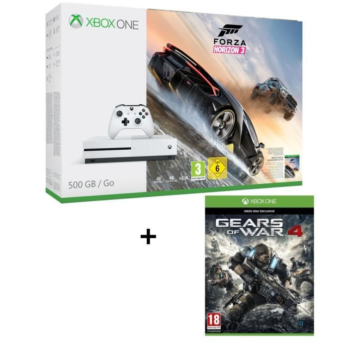 CONSOLE XBOX ONE NOUV. Xbox One S 500 Go Forza Horizon 3 + Gears of War 4