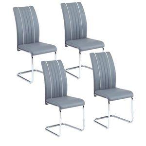 Lot de 4 chaises de salle a manger grise achat vente for Chaise salle a manger pas cher lot de 4