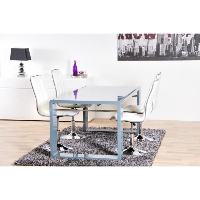 Zick table extensible 100 180cm laqu gris achat vente for Table extensible gris laque