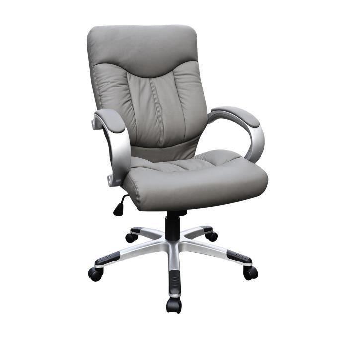 Montana fauteuil de bureau cuir pvc gris achat vente for Fauteuils de bureau en cuir